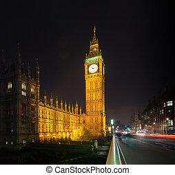 grand ben, royaume-uni, londres, nuit
