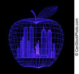 grand, blacklight, pomme