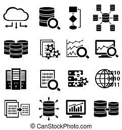 grand, icônes, technologie, données