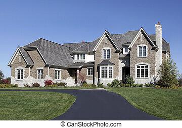 grand, maison, cèdre, toit