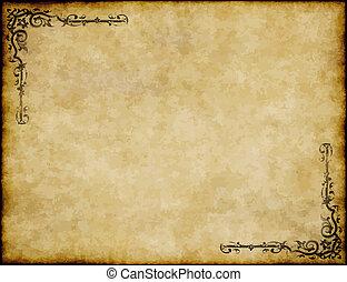 grand, vieux, texture, papier, conception, fond, orné, parchemin