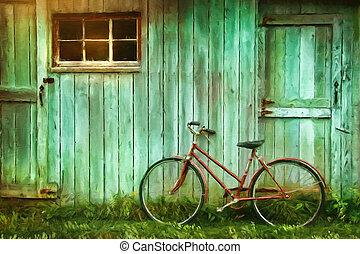 grange, peinture, numérique, vieux, contre, vélo