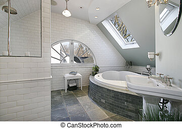 granit, luxe, planchers, salle, bain