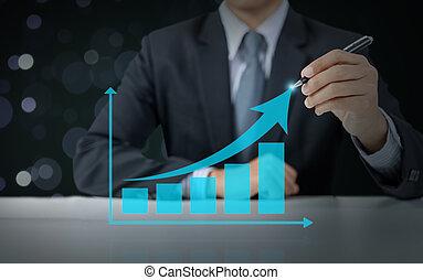 graphique, concept, levée, homme affaires, présent, croissance, business