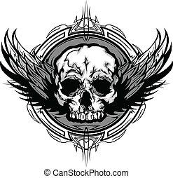 graphique, contour, crâne, tribal, ailes, vecteur, orné, image