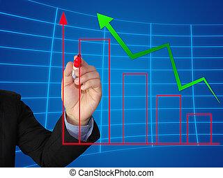 graphique, croissance, écrire, business