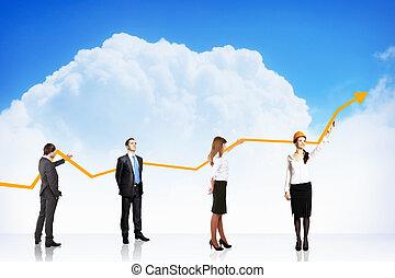graphique, croissance, business, reussite