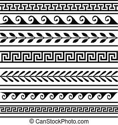 grec, géométrique, ensemble, frontières
