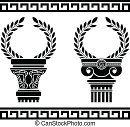 grec, wreaths., stencil, colonnes