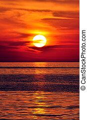 greece., crète, sunset.