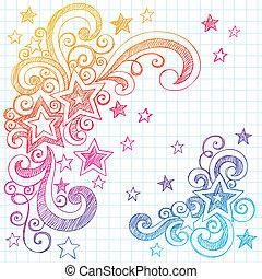 griffonnage, sketchy, conception, étoiles, élément