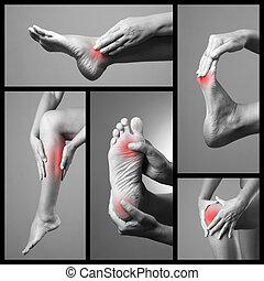 gris, feet., plusieurs, collage, arrière-plan., humain, douleur, corps, photos, femme, masage, legs., femme, parties, foot., plaie