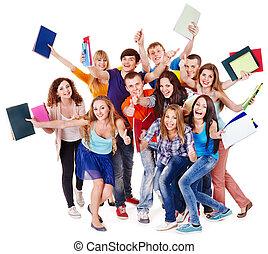 groupe, étudiant, notebook.