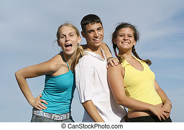 groupe, étudiants, course, adolescents, mélangé, gosses, ou