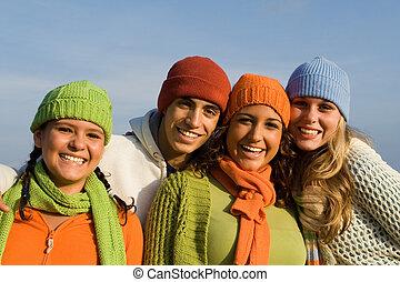 groupe, ados, course, jeunesse, mélangé, adolescents, gosses, ou, heureux