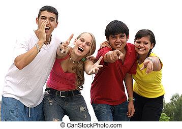 groupe, appeler, cris, divers, adolescents, sourire, ou, heureux