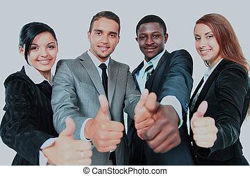 groupe, business, sur, isolé, haut, arrière-plan., pouces, blanc