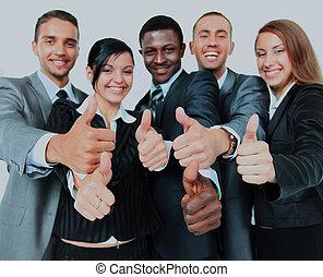 groupe, business, sur, isolé, haut, pouces, fond, blanc