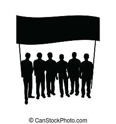 groupe, drapeau, silhouette, gens