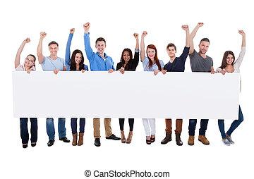 groupe, gens, divers, tenue, bannière, excité