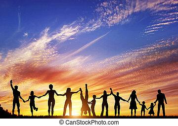 groupe, gens, famille, ensemble, main, divers, amis, équipe, heureux