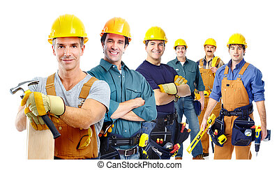 groupe, industriel, workers.