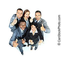 groupe, professionnels, joie, projection, haut, jeune, pouces, signes