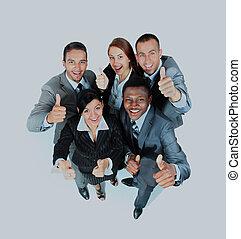groupe, professionnels, projection, haut, jeune, joy., pouces, signes