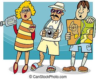 groupe, touriste, illustration, dessin animé