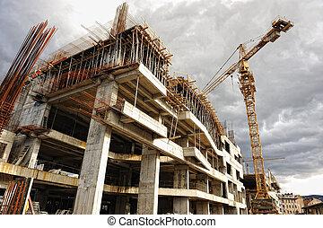 grue bâtiment, site construction