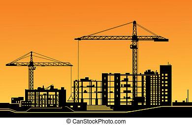 grues, site construction, fonctionnement