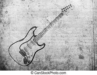 grunge, mur, affiche, musique, rocher, brique