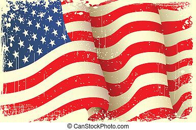 grungy, onduler, drapeau américain