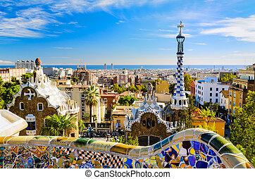 guell, barcelone, parc, espagne