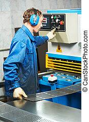 guillotine, machine, ouvrier, opération, cisailles