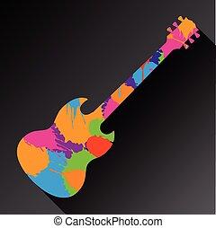 guitare, coloré, fond, résumé