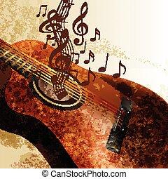 guitare, grunge, musique, fond