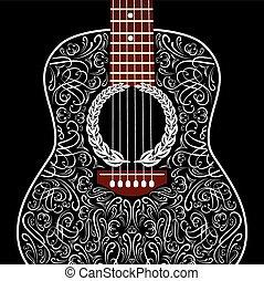 guitare, grungy, arrière-plan noir, acoustique