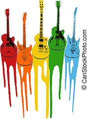 guitare, musique, coloré