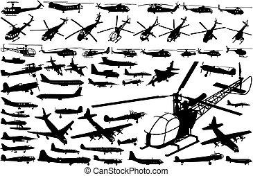 hélicoptères, avions, (vector)