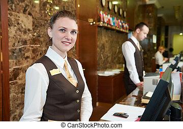hôtel, ouvrier, réception