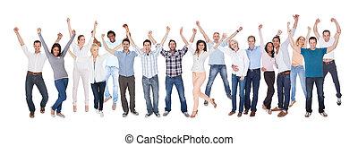 habillé, heureux, groupe, désinvolte, gens