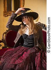 habillé, robe, femme, vieux façonné