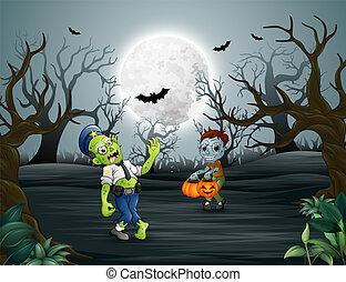 halloween, forêt, mort, heureux