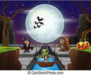 halloween, gens, nuit, fond, déguisement