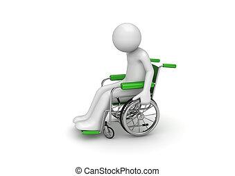 handicapé, personne, chaise, roulé