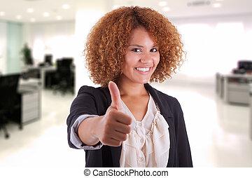 haut, affaires femme, gens, -, jeune, isolé, américain, noir, pouces, fond, africaine, portrait, blanc