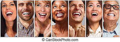 heureux, ensemble, fait face gens