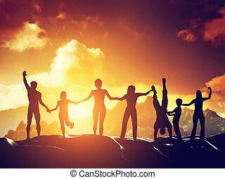 heureux, groupe ensemble, gens