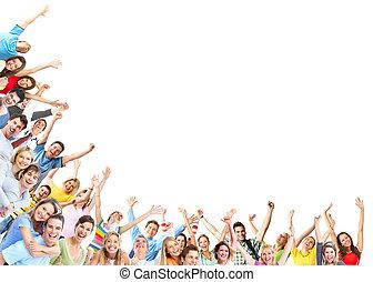 heureux, groupe, gens